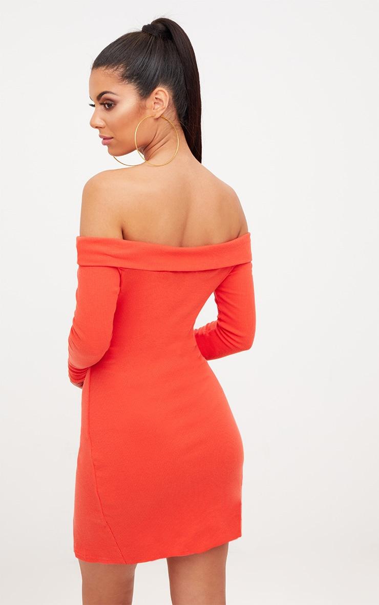 Burnt Orange Bardot Wrap Tie Front Bodycon Dress 2