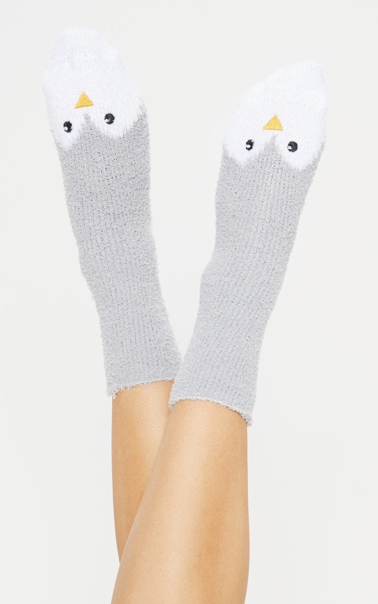 Grey Penguin Fluffy Socks