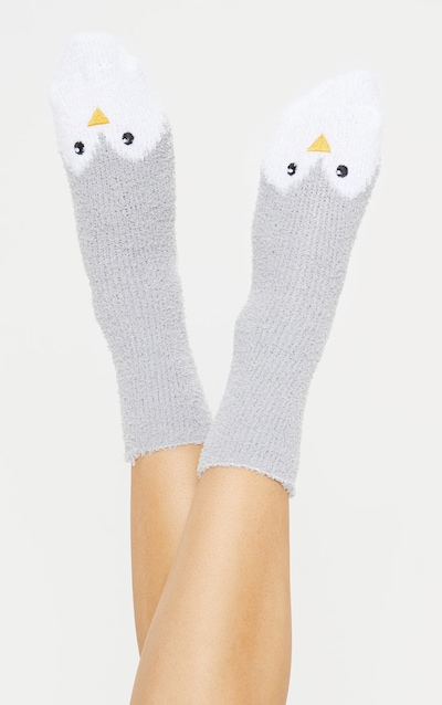 Grey Penguin Fluffy Socks