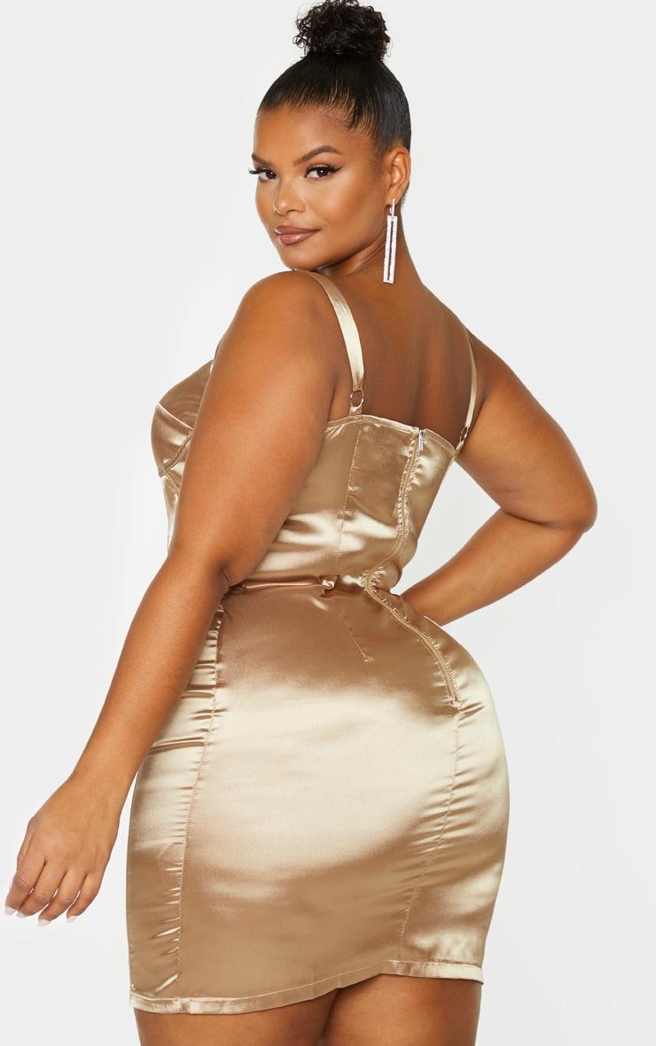 Plus Mocha Satin Corset Detail Bodycon Dress 2