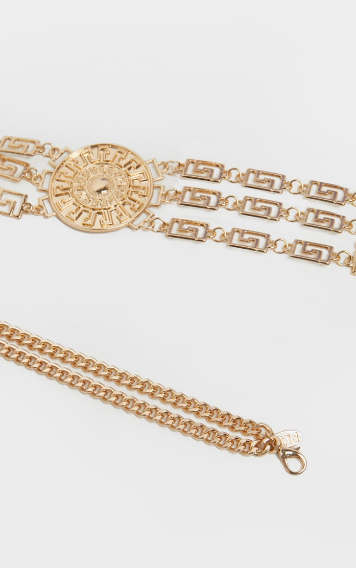 Plus Gold Greek Key And Sun Dial Chain Belt 2