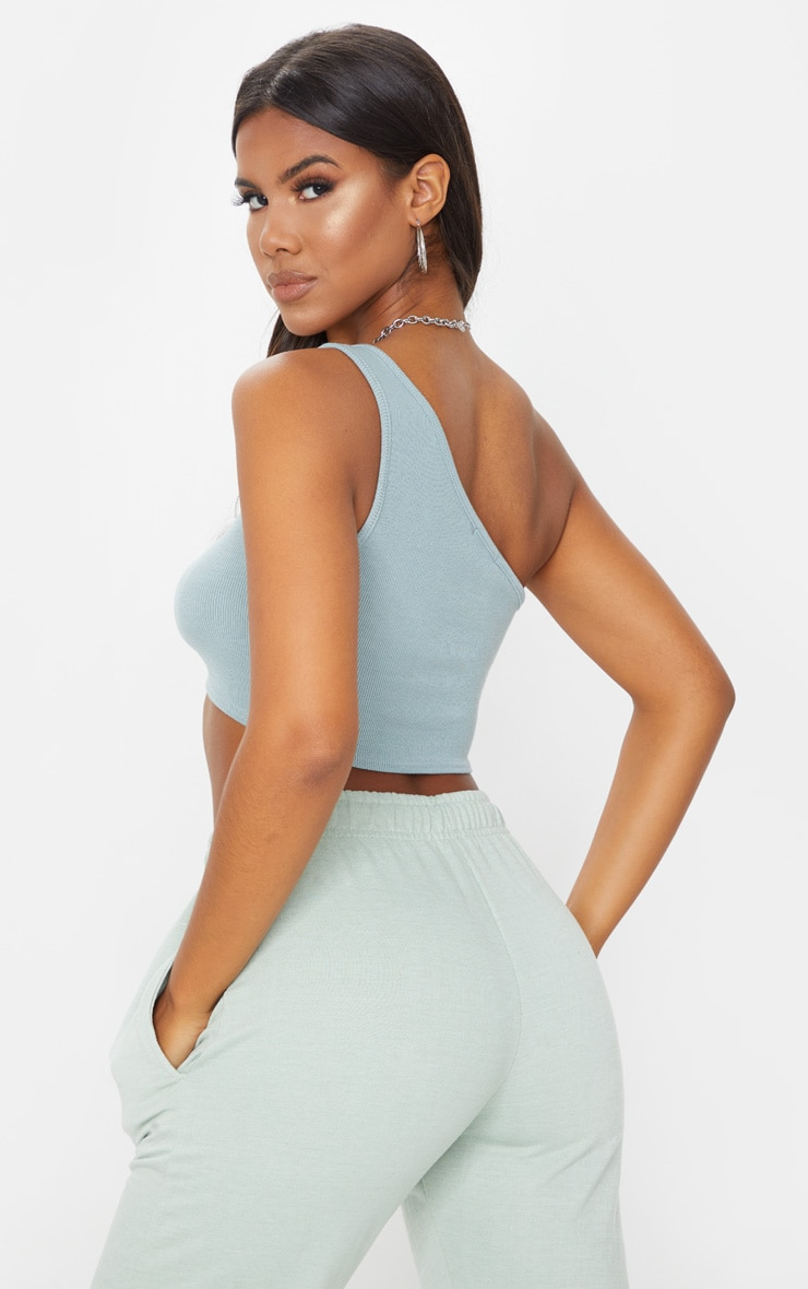 Dove Grey One Shoulder Rib Crop Top 2