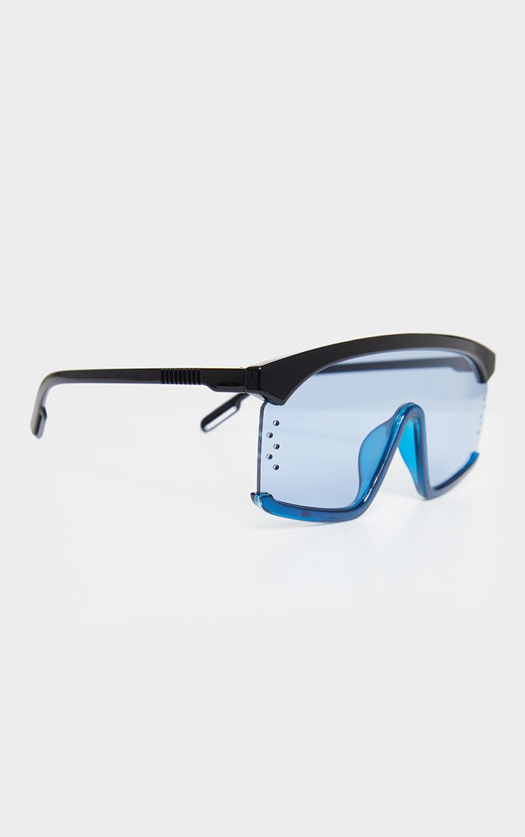 Blue Oversized Exposed Frame Sunglasses 3