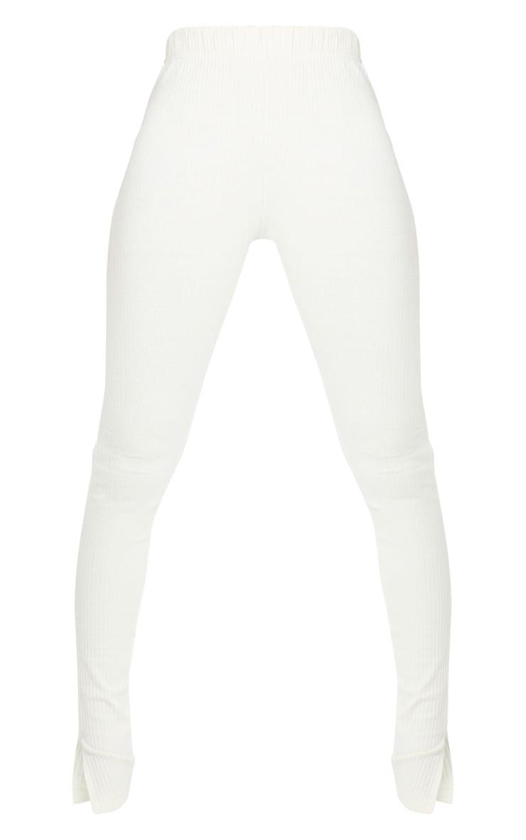 Tall Cream Split Hem Ribbed Leggings 5