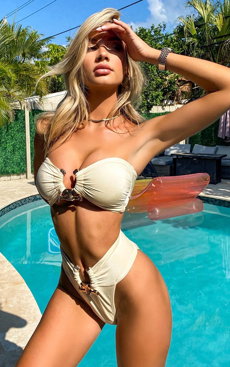 Cream Hammered Trim Bikini Top 1