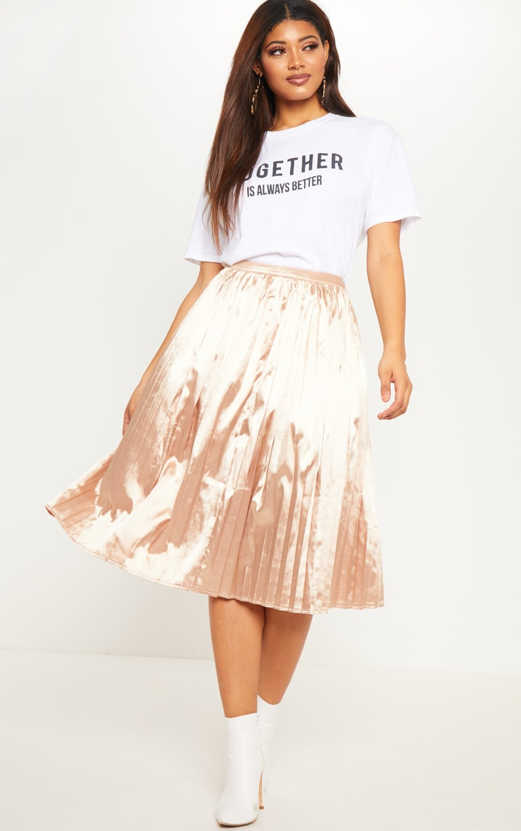 low priced promotion new authentic Tall Champagne Satin Pleated Midi Skirt
