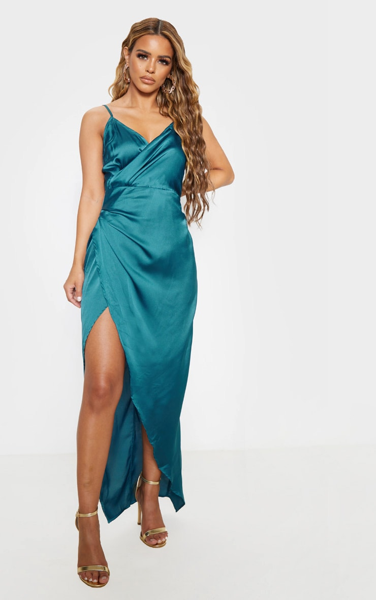 Petite Jasper Green Satin Wrap Detail Maxi Dress  1