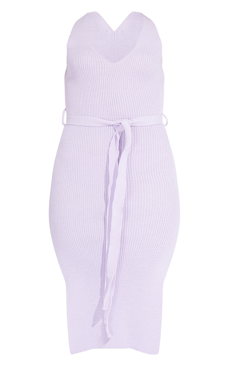 Lilac Knitted Belted Split Midi Dress 5