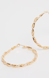 Gold Twisted Hoops 2
