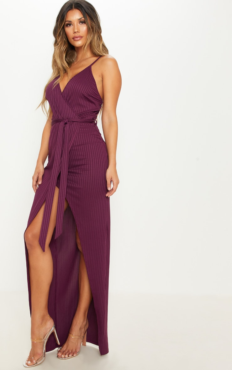 Plum Ribbed Wrap Maxi Dress 4