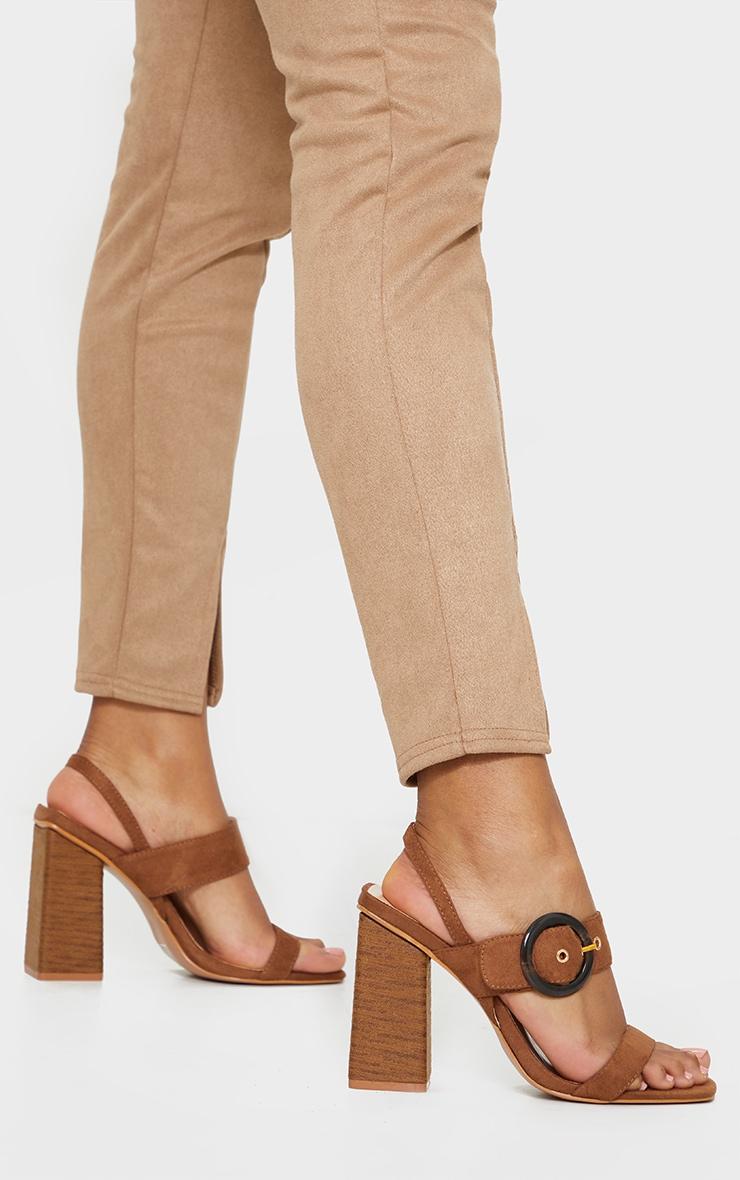 Tan Wood Block Heel Buckle Square Toe Sandals 2