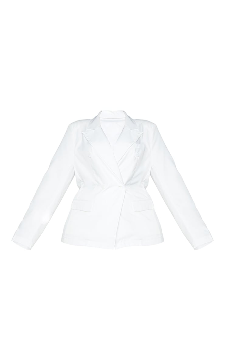 Plus White Woven Double Breasted Shoulder Pad Blazer 5