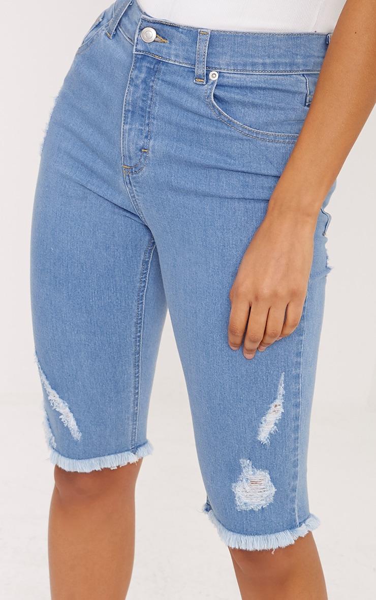 Hema Light Wash 3/4 length Skinny Fit Distress Short