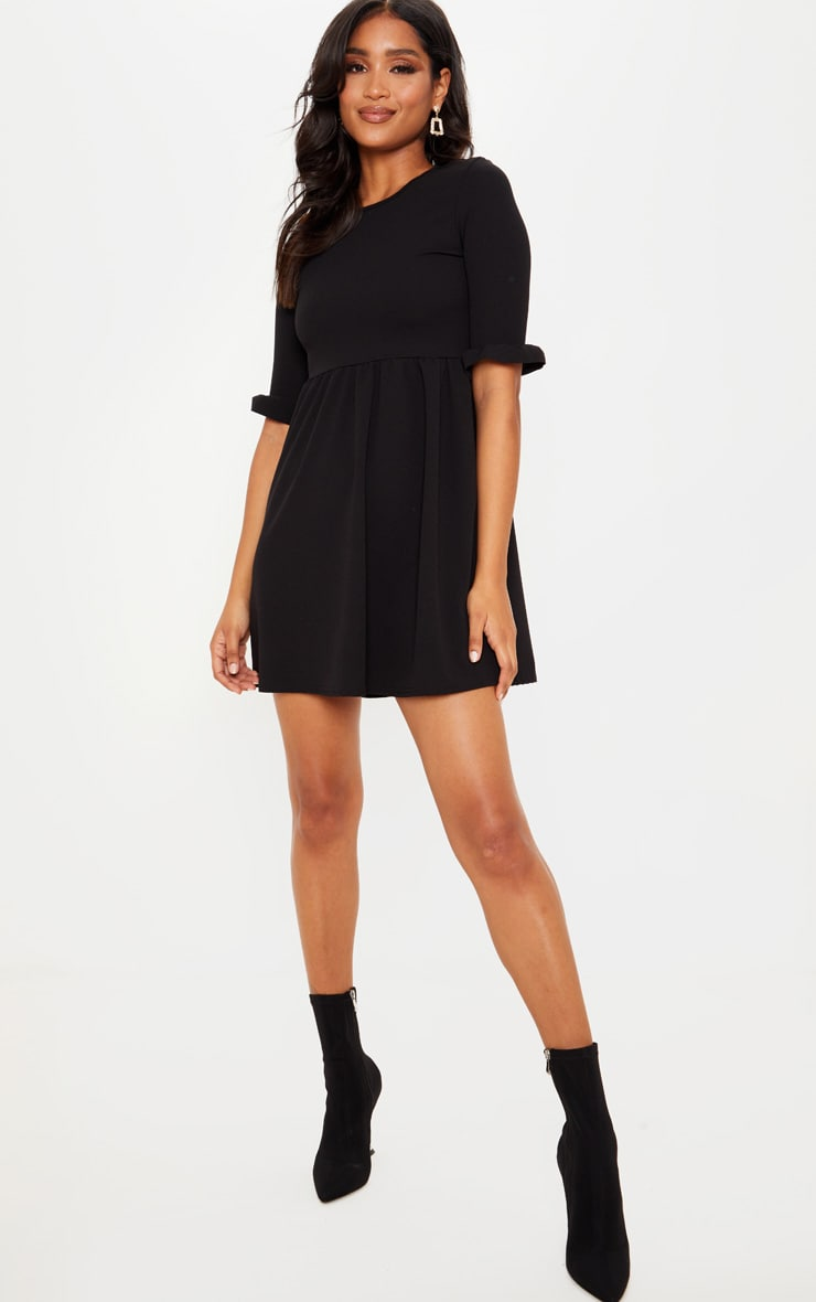 Black Frill Sleeve Detail Crepe Smock Dress 4