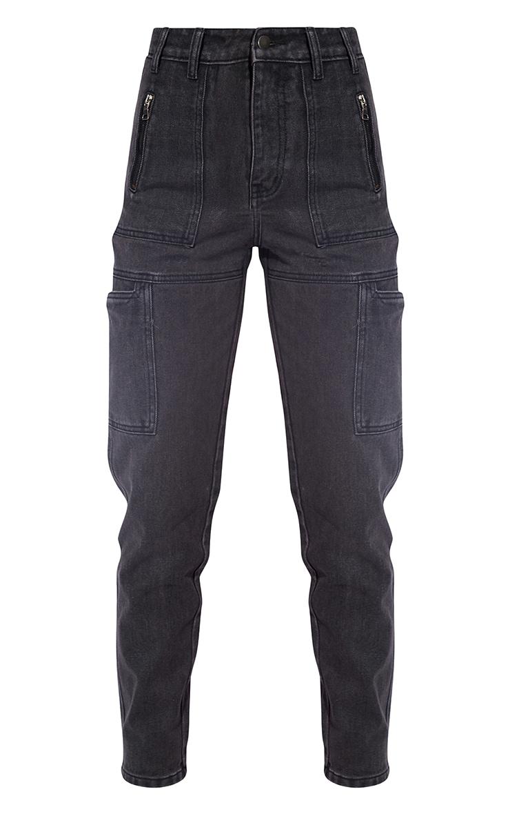 Washed Black Zip Cargo Pocket Boyfriend Jeans 5
