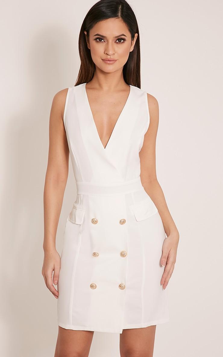 Keera White Button Detail Blazer Dress 1