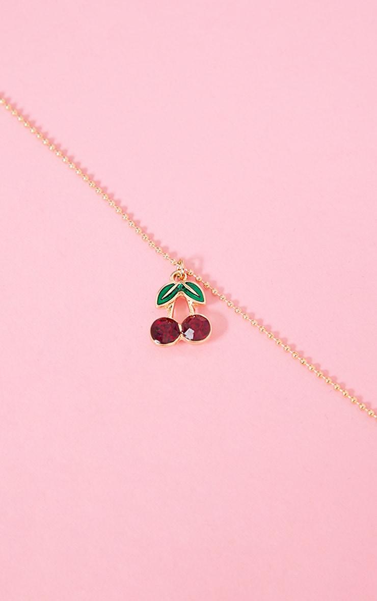 Collier à mini pendentif cerise rouge 3