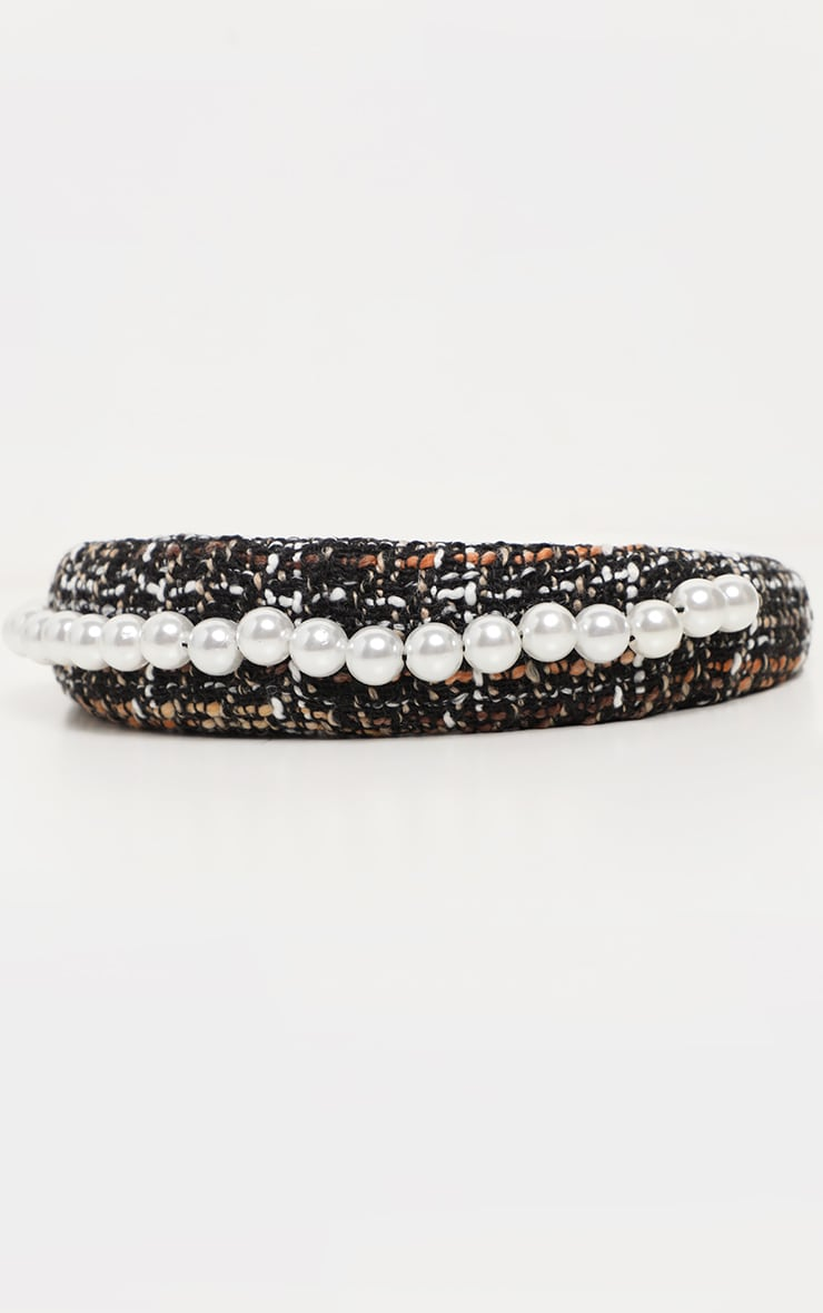 Black Tweed Pearl Embellished Chunky Headband 3