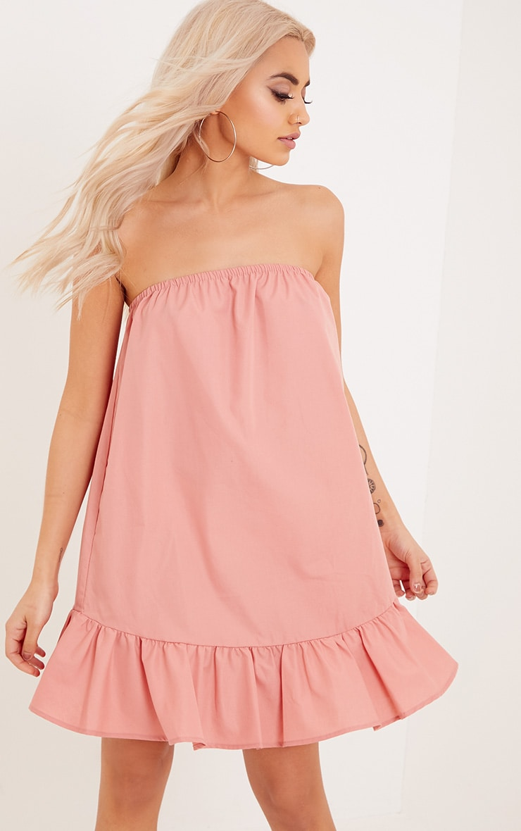 Morandia Pink Strapless Flared Hem Shift Dress  1