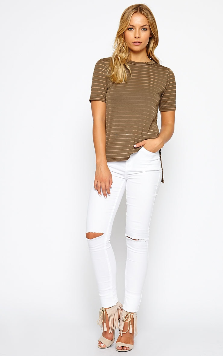 Elodie Khaki Stripe Burnout T-Shirt 3