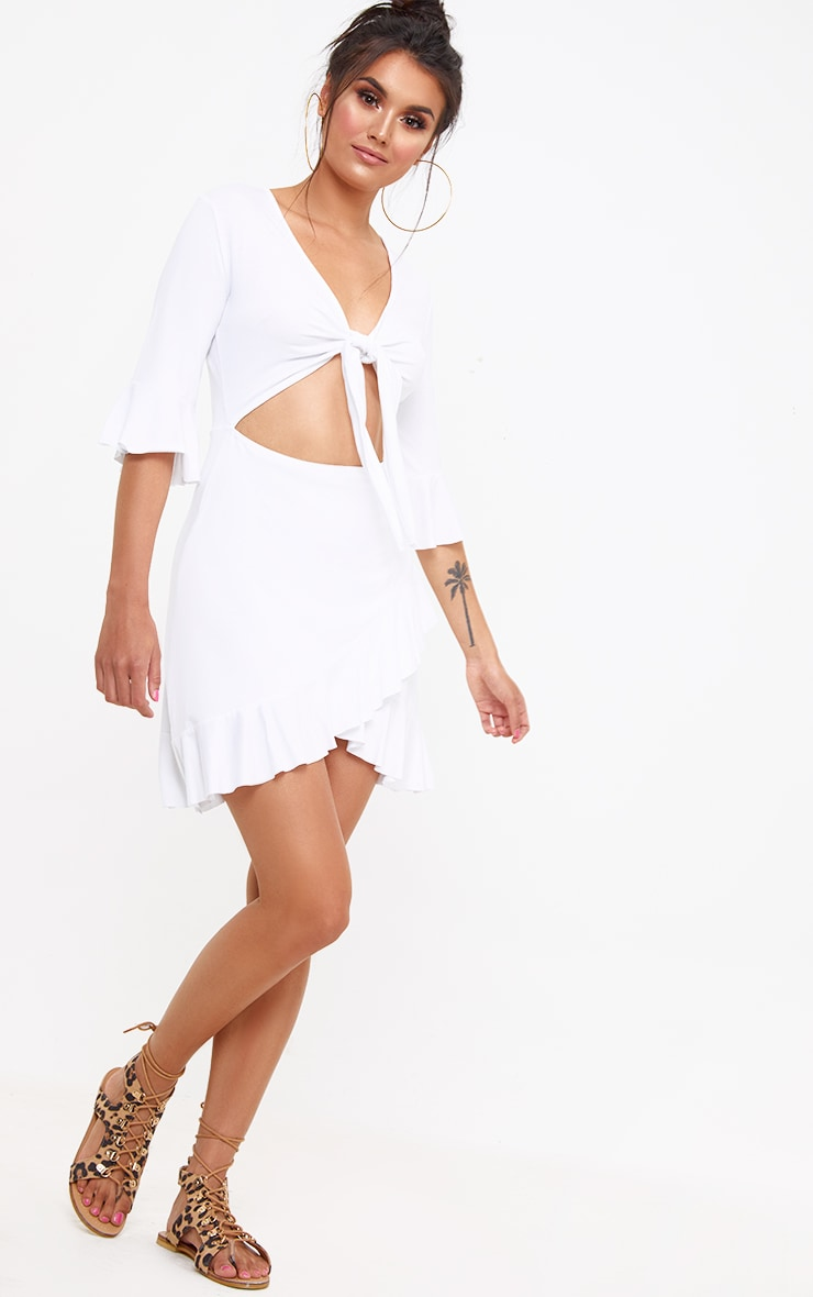 White Frill Tie Front Shift Dress 3