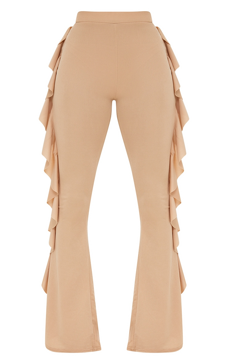 Petite Stone Ruffle Side Flared Trousers 3