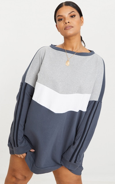 da2cdaeb692 Plus Charcoal Chevron Panel Oversized Sweater Dress PrettyLittleThing  Sticker