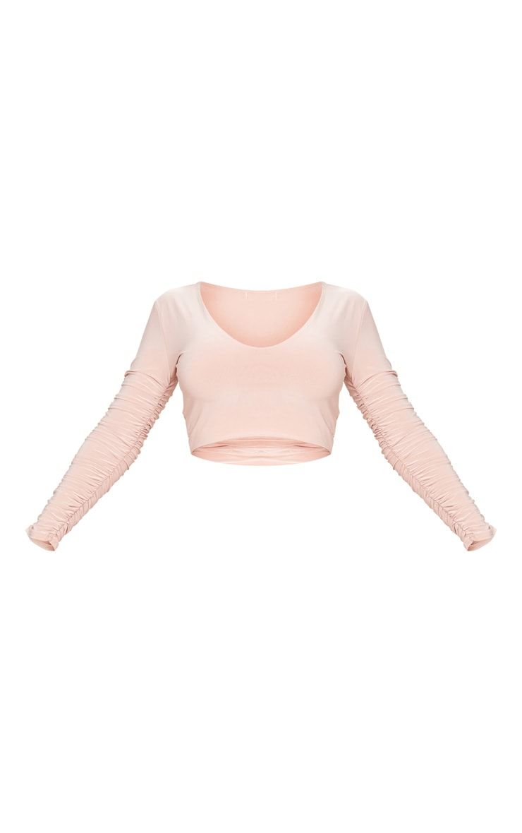Blush Slinky Ruched Sleeve V Neck Crop Top 5
