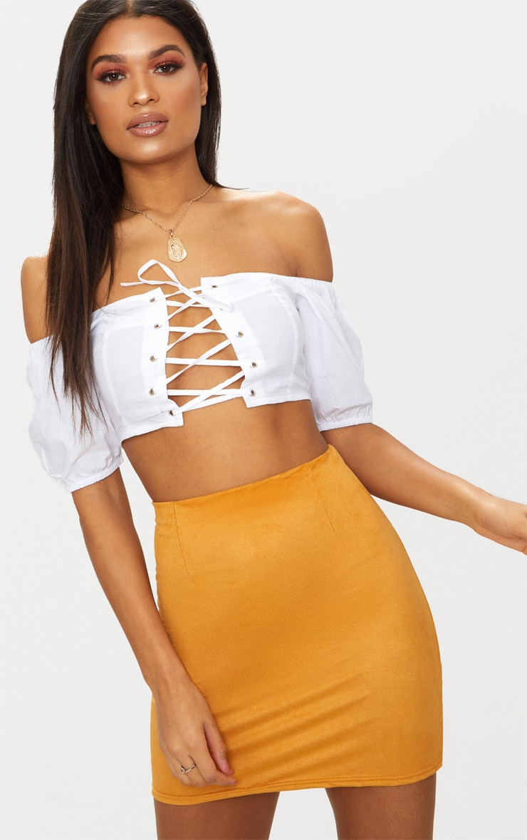 Mustard Faux Suede Mini Skirt 1