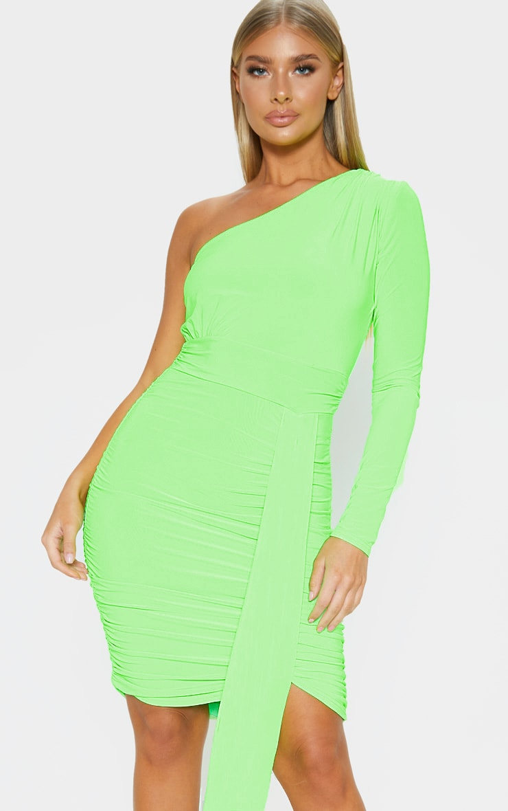 Neon Lime Slinky One Shoulder Drape Detail Bodycon Dress 1
