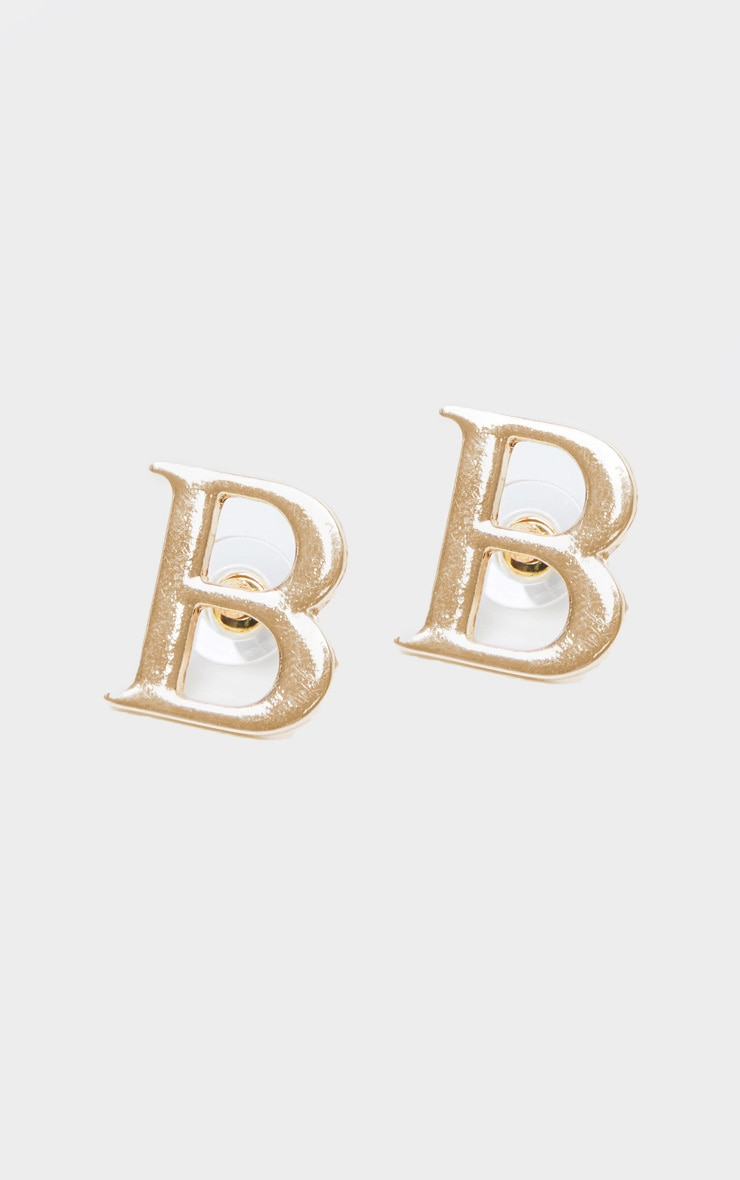 Gold B Letter Stud Earrings 2