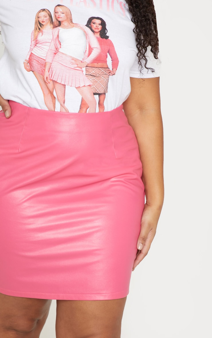 Plus Fuchsia PU Mini Skirt 6