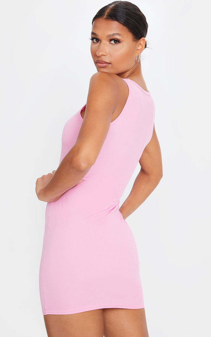 Pink Ribbed Square Neck Bodycon Dress 2