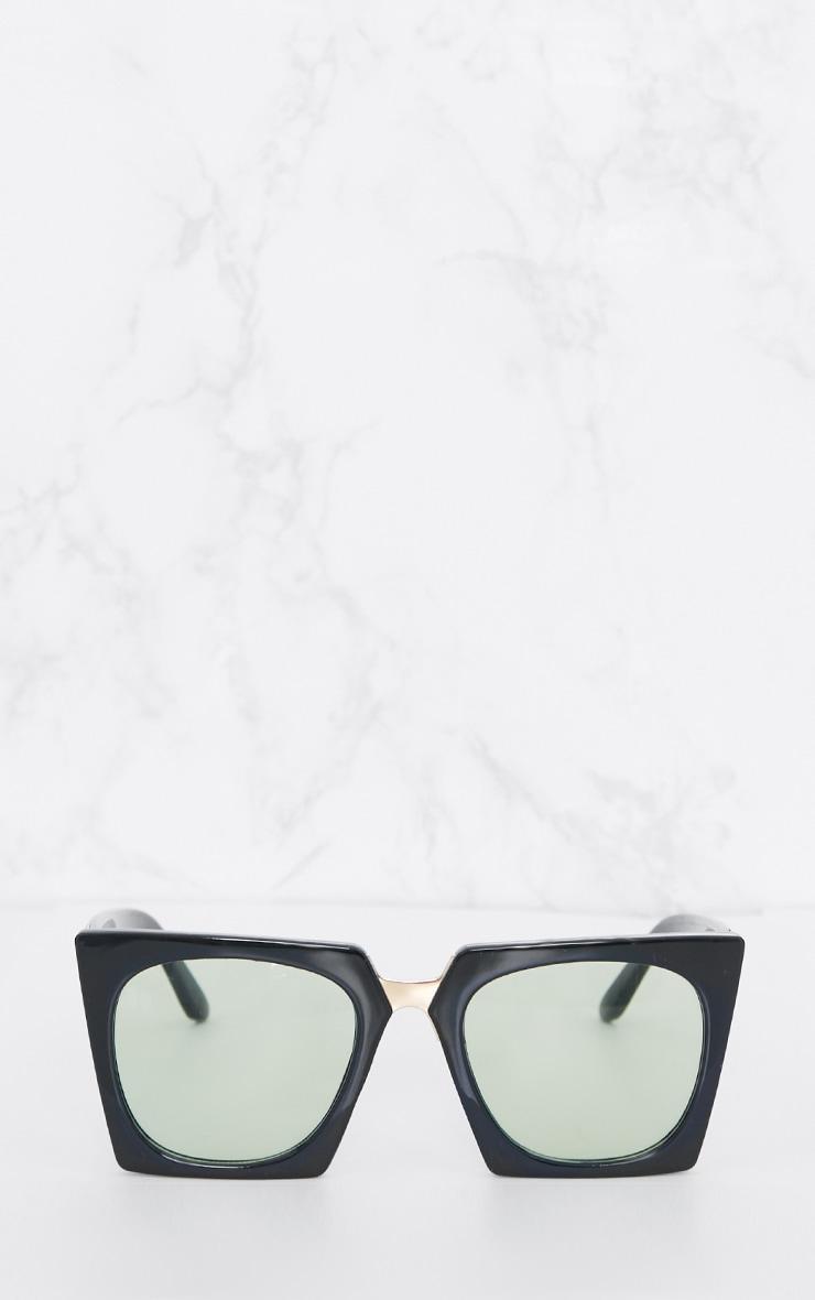 Green Lens Angular Frame Retro Sunglasses 2