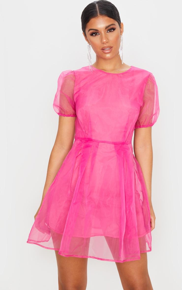 Hot Pink Organza Puff Sleeve Skater Dress 1