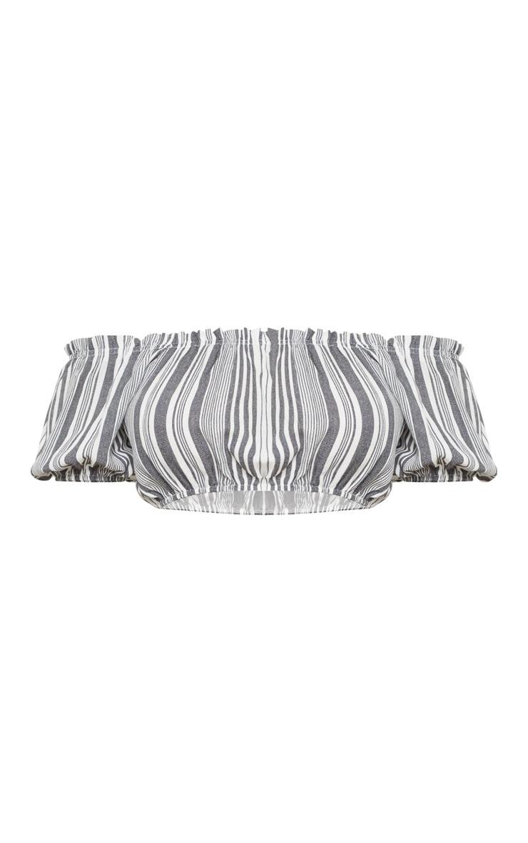 Tall Monochrome Cropped Bardot Multi Stripe Top 3