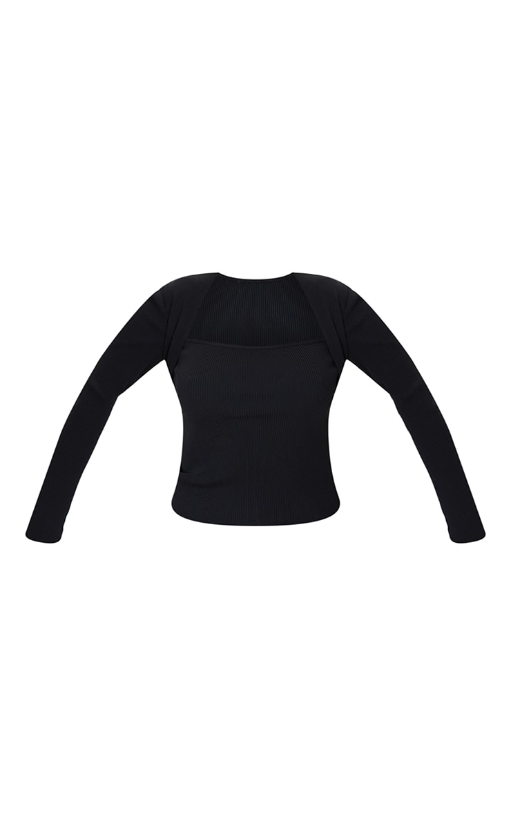 Black Ribbed Fitted Knitted Long Sleeve Top 5