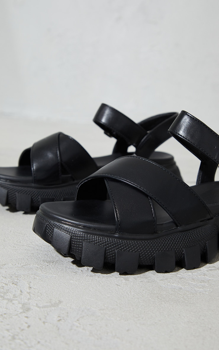 Black PU Extreme Cleated Sole Cross Strap Sports Sandals 4