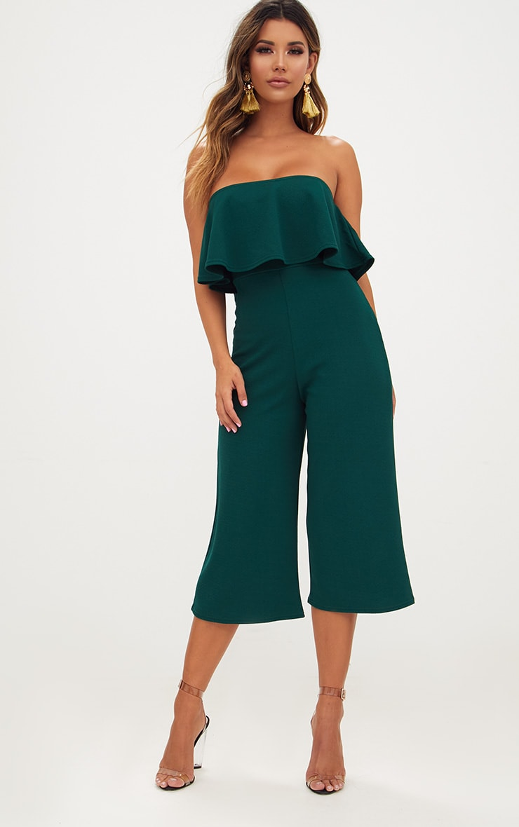 Emerald Green Bardot Double Layer Culotte Jumpsuit 1
