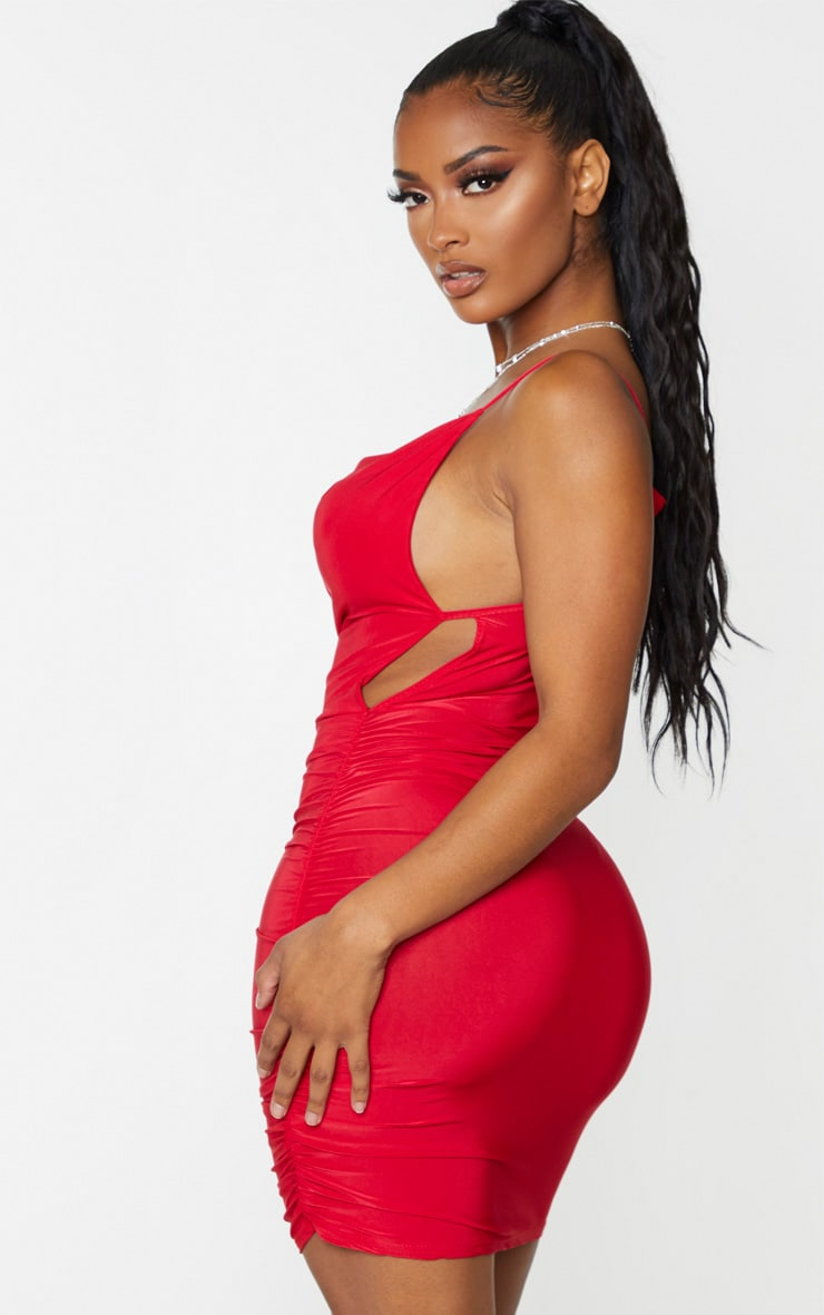 Shape Red Cowl Ruched Side Bodycon Dress 2