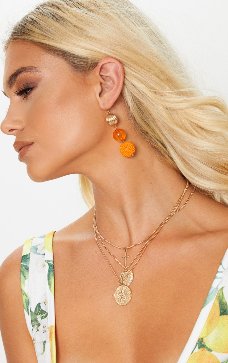 Orange Beaded Drop Earrings 2