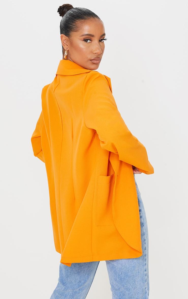 Orange Woven Single Breasted Oversized Blazer 2