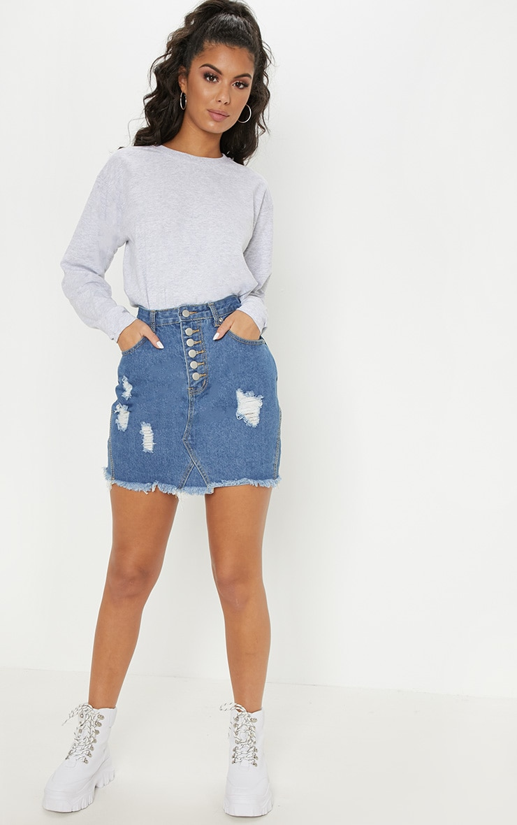 Mid Wash Button Through Distressed Denim Skirt 5