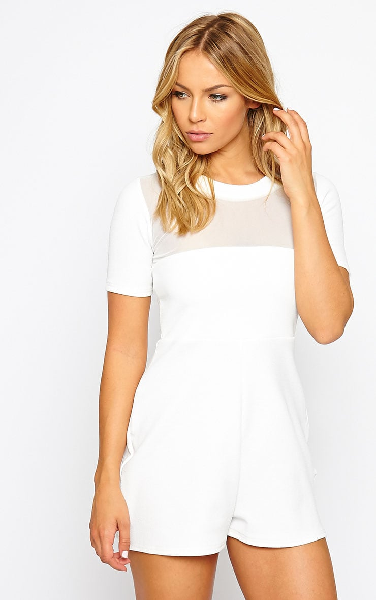 Sallie White Mesh Insert Playsuit 1