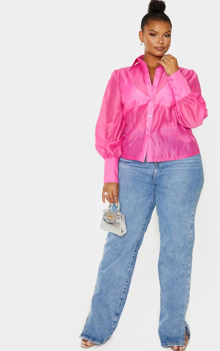 Plus Pink Sheer Woven Oversized Shirt 4
