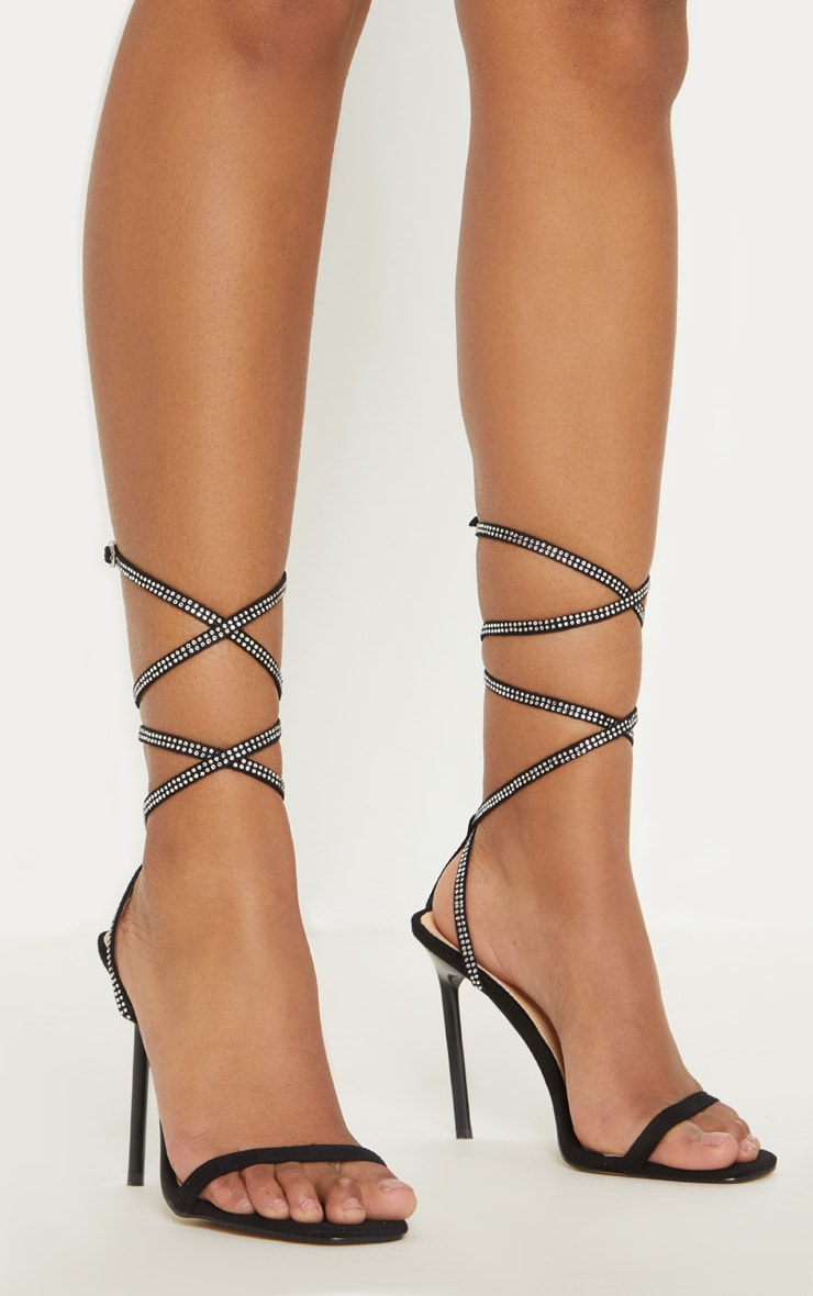 Black Ankle Diamante Heel 2