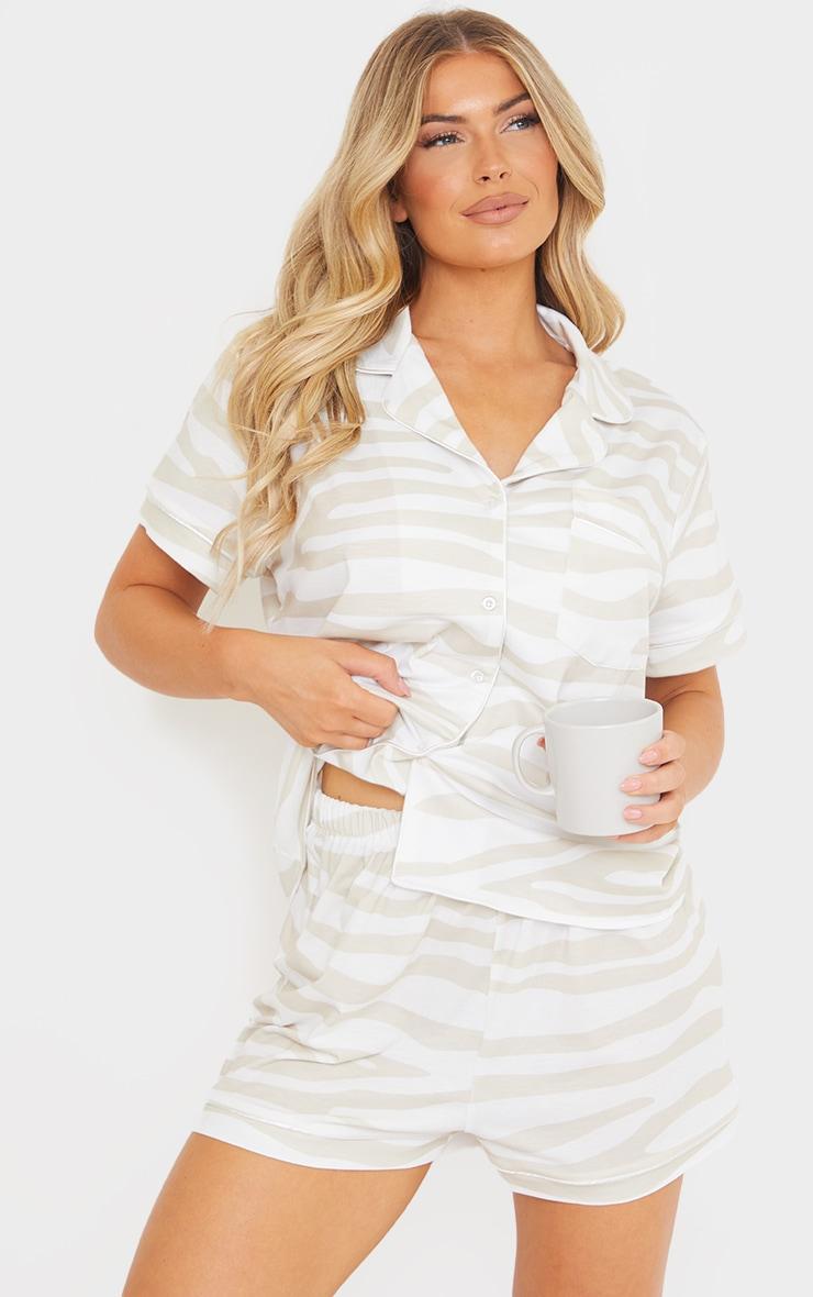 Stone Zebra Print Oversized Jersey Button Up Short PJ Set 1