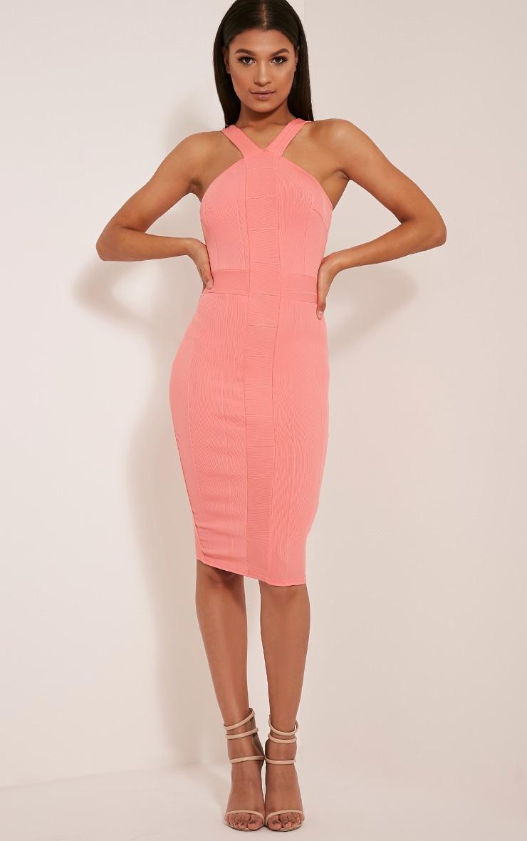 Meryl Coral Bandage Strap Detail Bodycon Dress 1