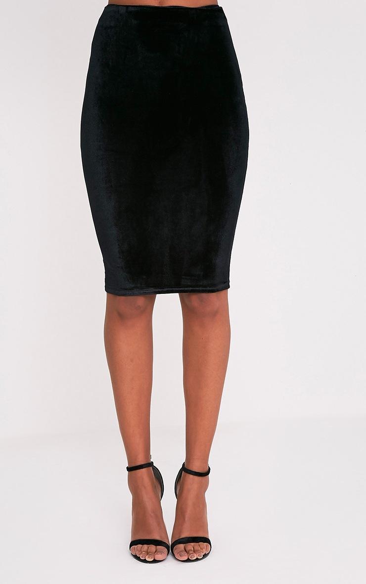 Whitney jupe midi noire en velours 2