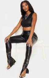 Shape Black PU Split Hem Pants 1